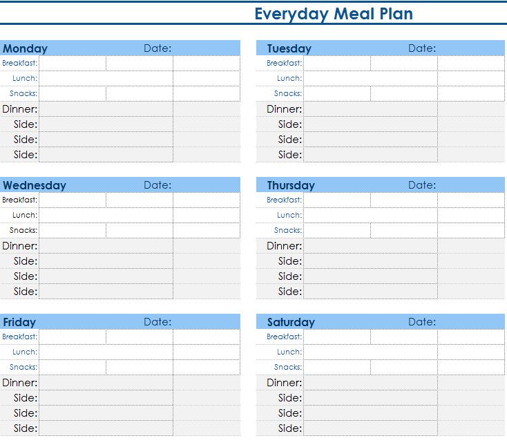 Daily Meal Planner - My Excel Templates - daily menu planner template