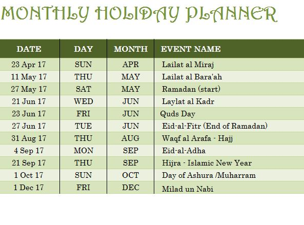 Islamic Holiday Calendar Template - My Excel Templates - holiday calendar template