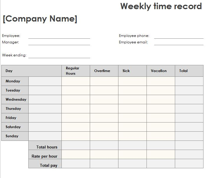 Weekly Time Sheet - My Excel Templates