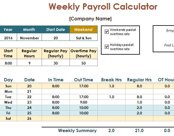 Payroll Calculator Template - My Excel Templates