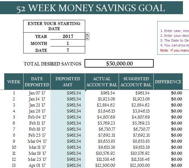 excel savings template