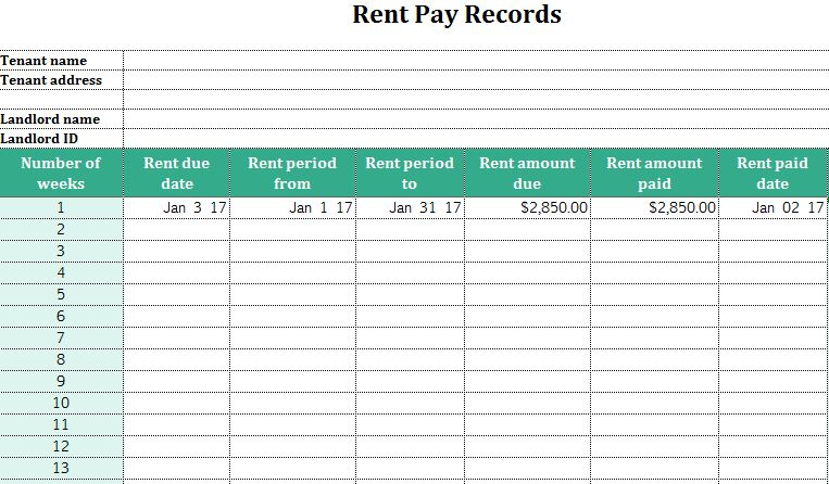 Rent Pay Records - My Excel Templates