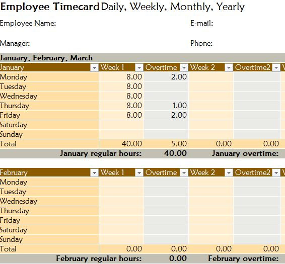 Yearly Employee Timecard MyExcelTemplates Employee Timecards
