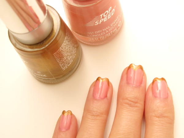 Mani HeartTips Nailart4 {Nail It} I Bask in Golden Heart Tips and Pink Lingerie
