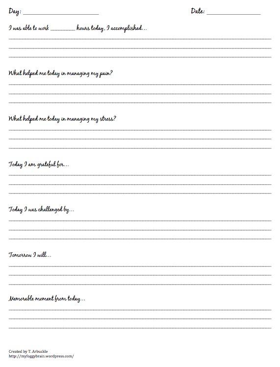 Track Your Progress Fibro Journal Template \u2013 my foggy brain