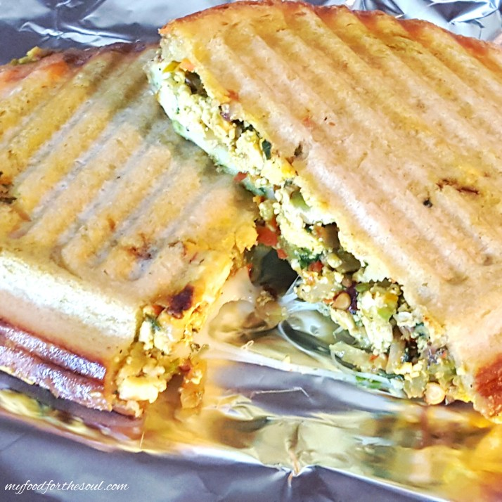 Delicious mouth-watering Grilled Scrambled Tofu Veggie Sandwich