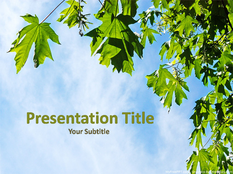 Fresh Leaves PowerPoint Template - Free PowerPoint Templates