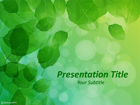 Green Leaves PowerPoint Template - Download Free PowerPoint PPT