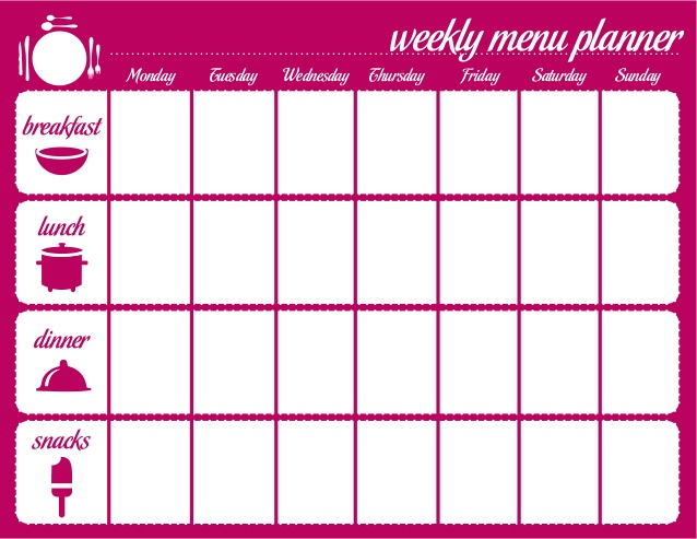 Weekly Meal Plan for the family u2013 Printable! myhappylittlelife - weekly menu