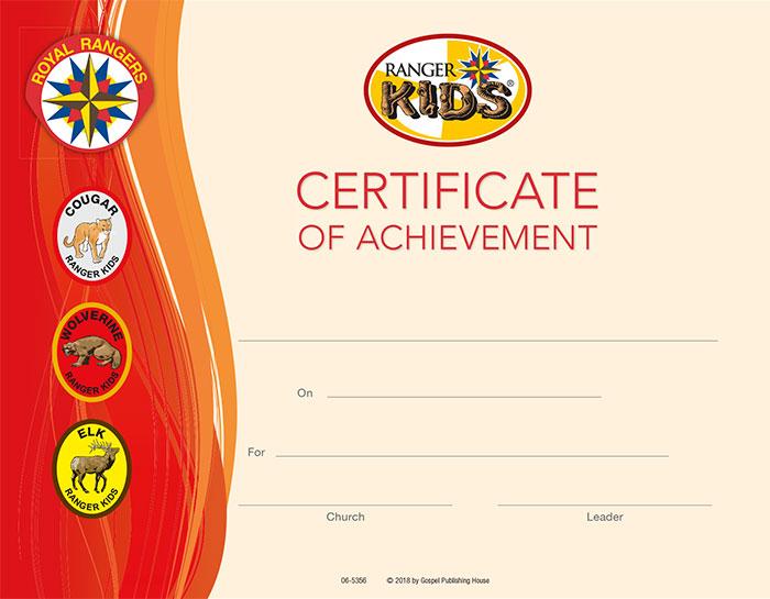 Ranger Kids Certificate of Achievement My Healthy Church®