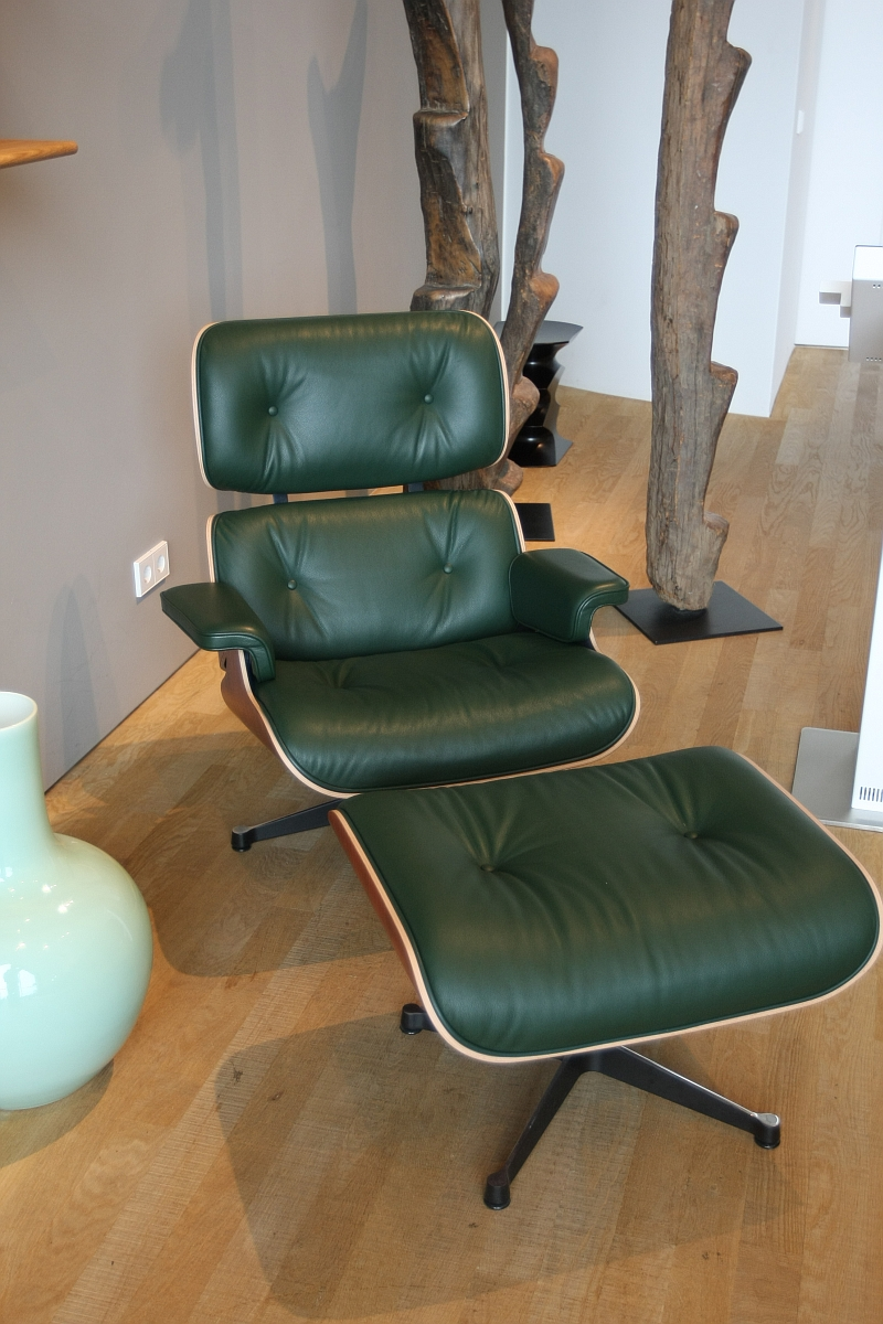 Vitra Eames Lounge Chair In Dark Green Leather My House - Vitra Lounge Chair Mahagoni