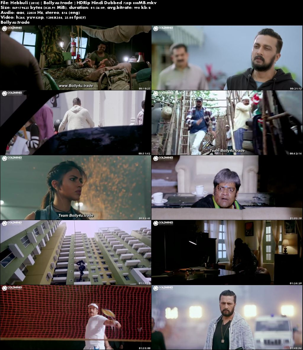 Hebbuli 2018 HDRip 800MB Hindi Dubbed 720p