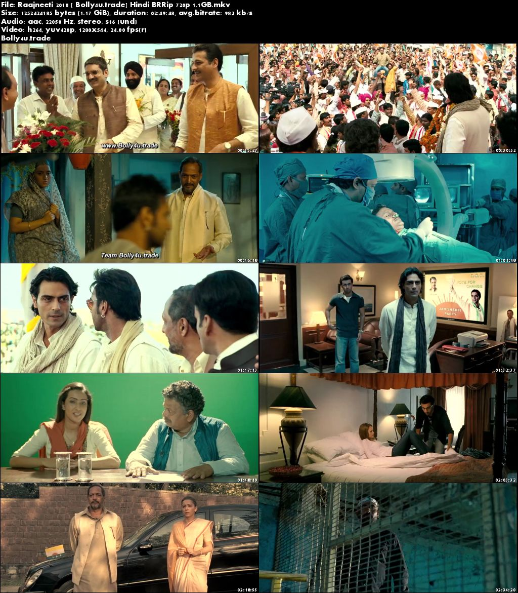Raajneeti 2010 BluRay 450MB Full Hindi Movie  480p