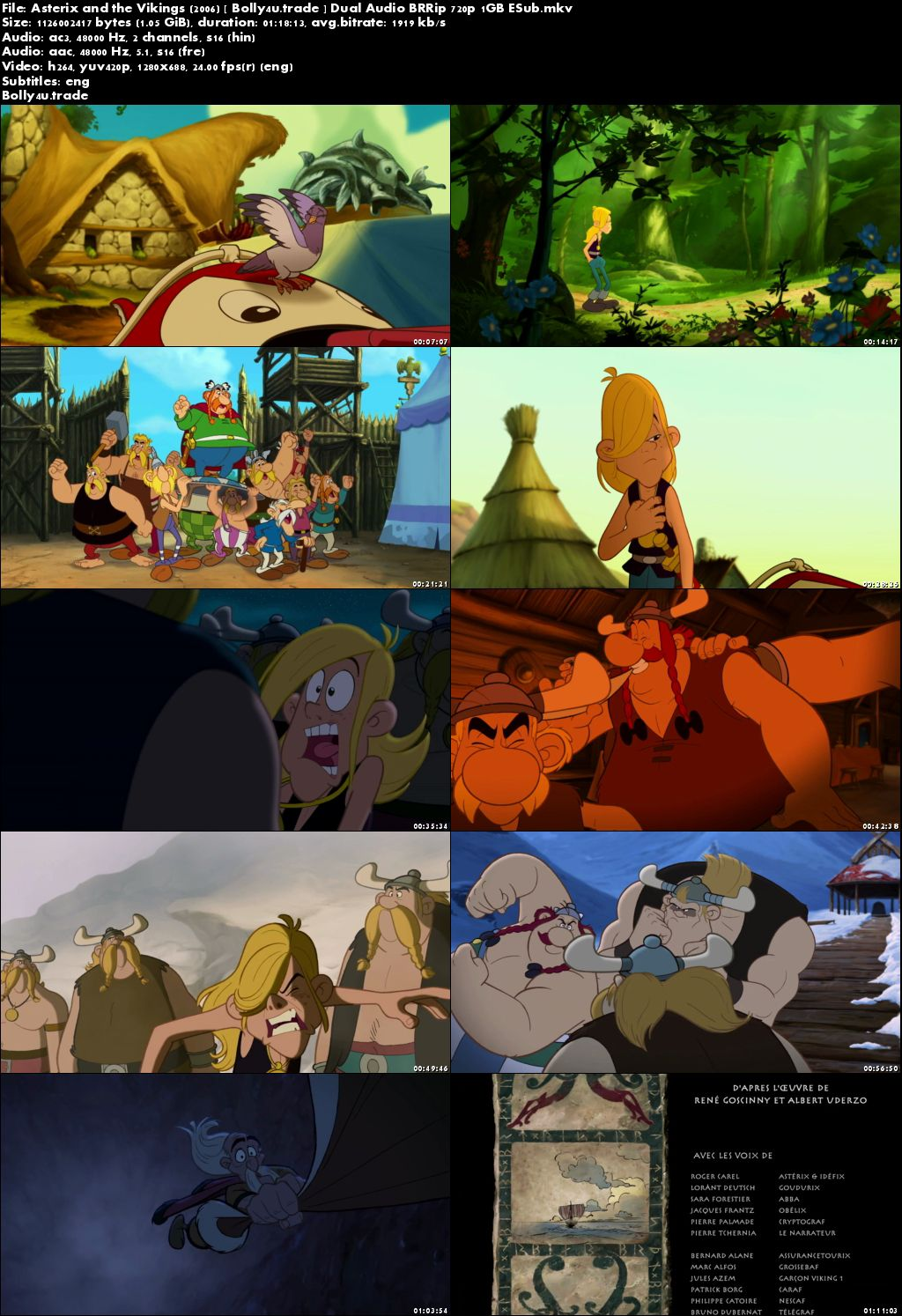 Asterix and the Vikings 2006 BRRip 1Gb Hindi Dual Audio 720p ESub