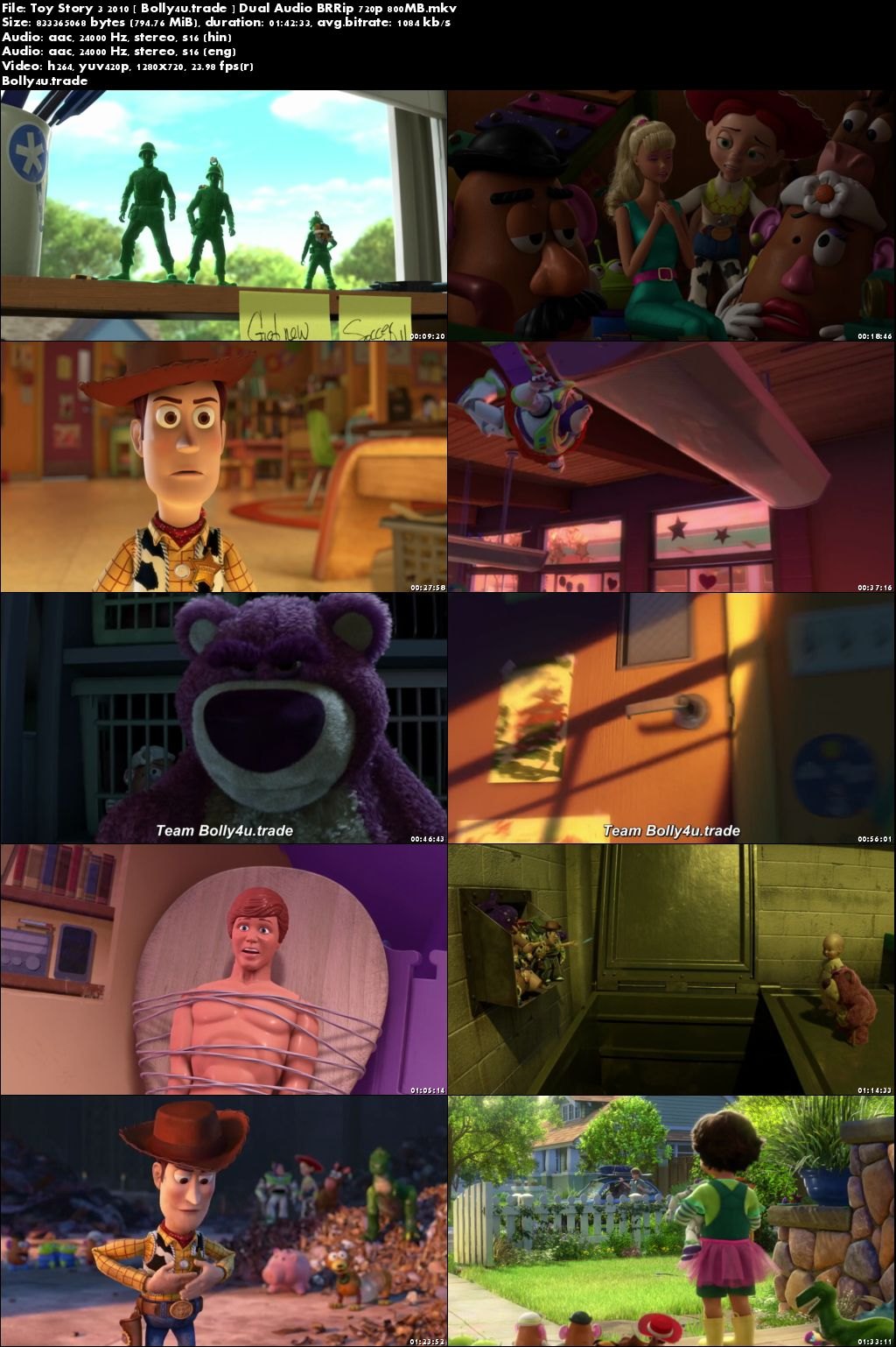 Toy Story 3 2010 BluRay 350Mb Hindi Dual Audio 480p Download