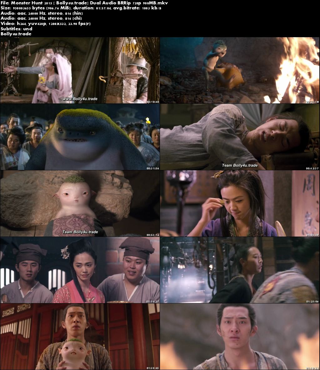 Monster Hunt 2015 BRRip 900MB Hindi Dual Audio 720p Download