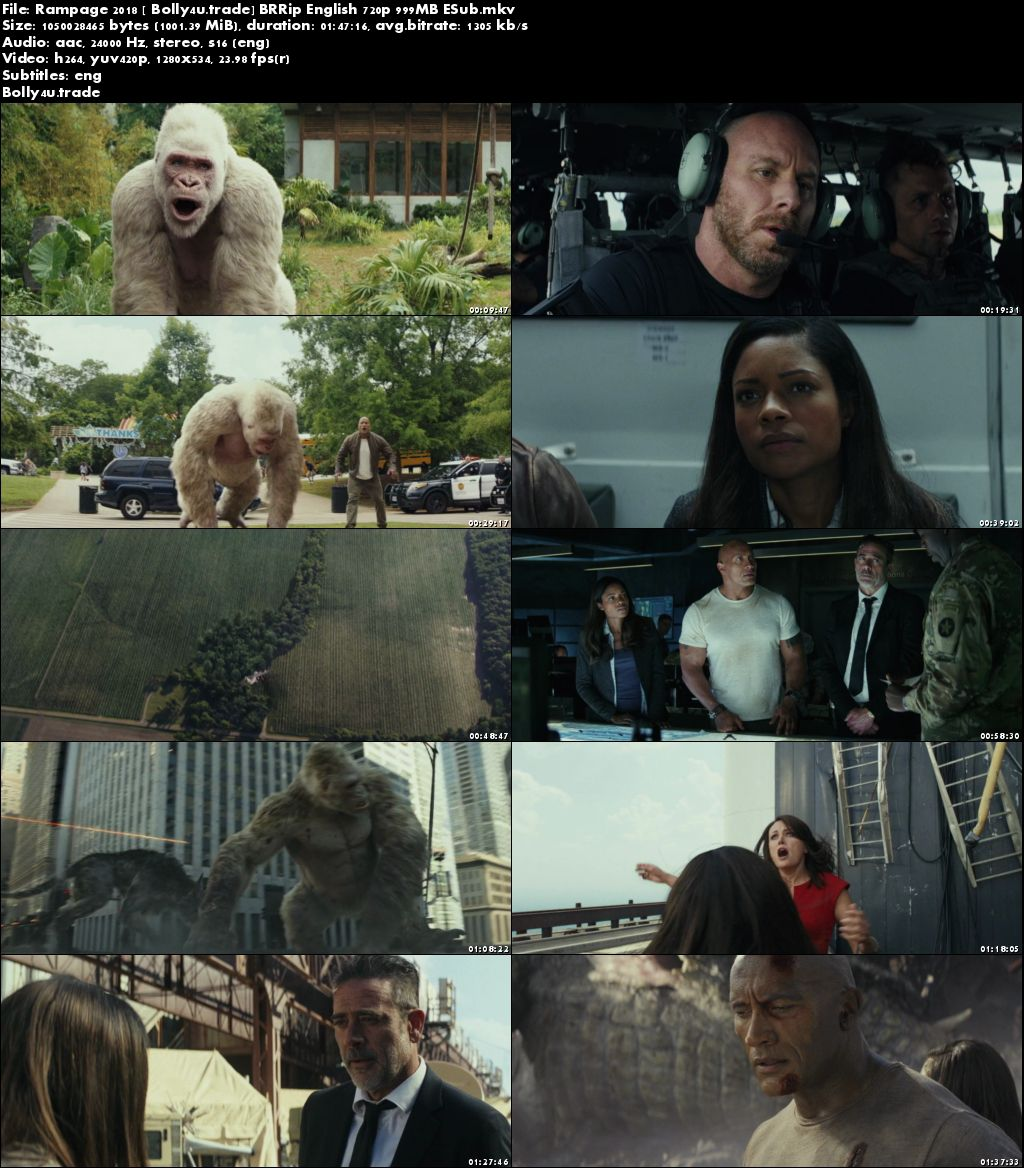 Rampage 2018 BRRip 300MB English 480p ESub Download