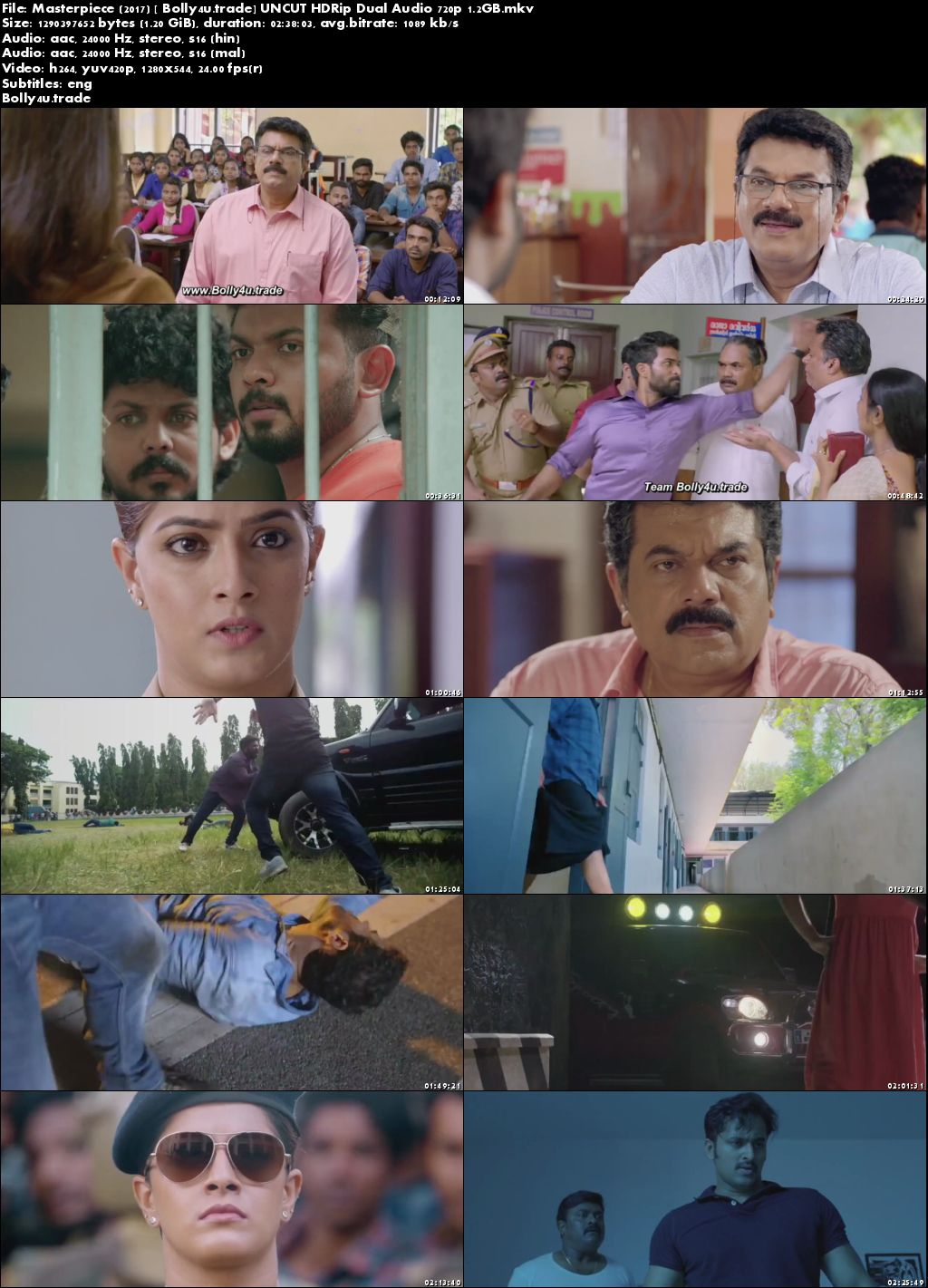 Masterpiece 2017 HDRip 500MB UNCUT Hindi Dubbed Dual Audio 480p Download