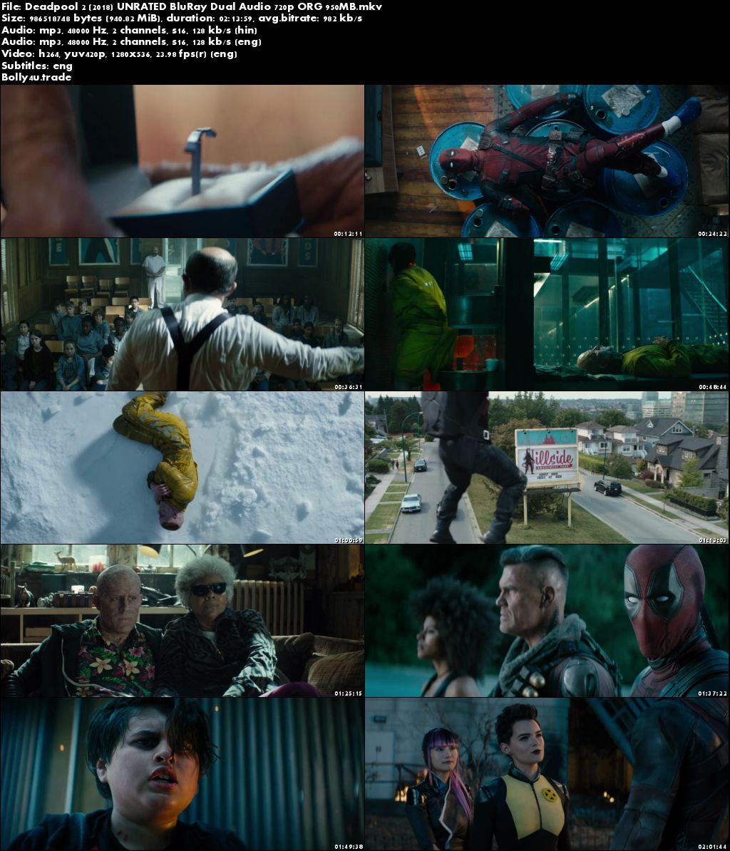 Deadpool 2 2018 BluRay 400MB UNRATED Hindi Dual Audio ORG 480p Download