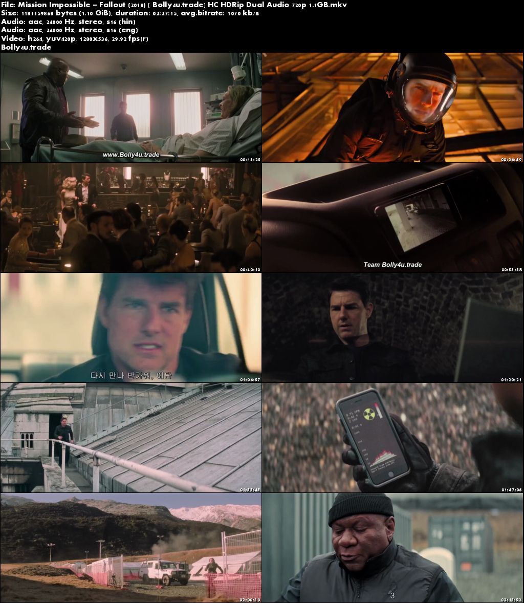Mission Impossible Fallout 2018 HC HDRip Hindi Dual Audio 720p Download