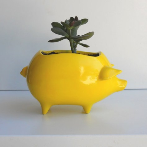 maiale Ceramica Pig Planter Vintage Design in giallo limone da Fruit Fly Pie