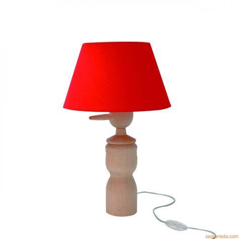 hires-pinocchio-lt-lampada-da-tavolo-in-legno-di-faggio-naturale-con-paralume-in-tessuto-rosso