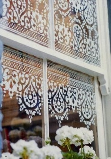 shabby lace-stenciled-window