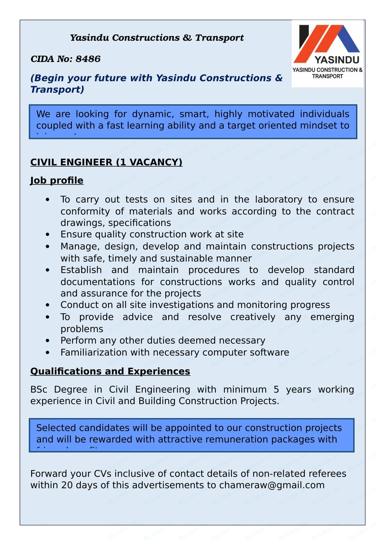 cv engineer job