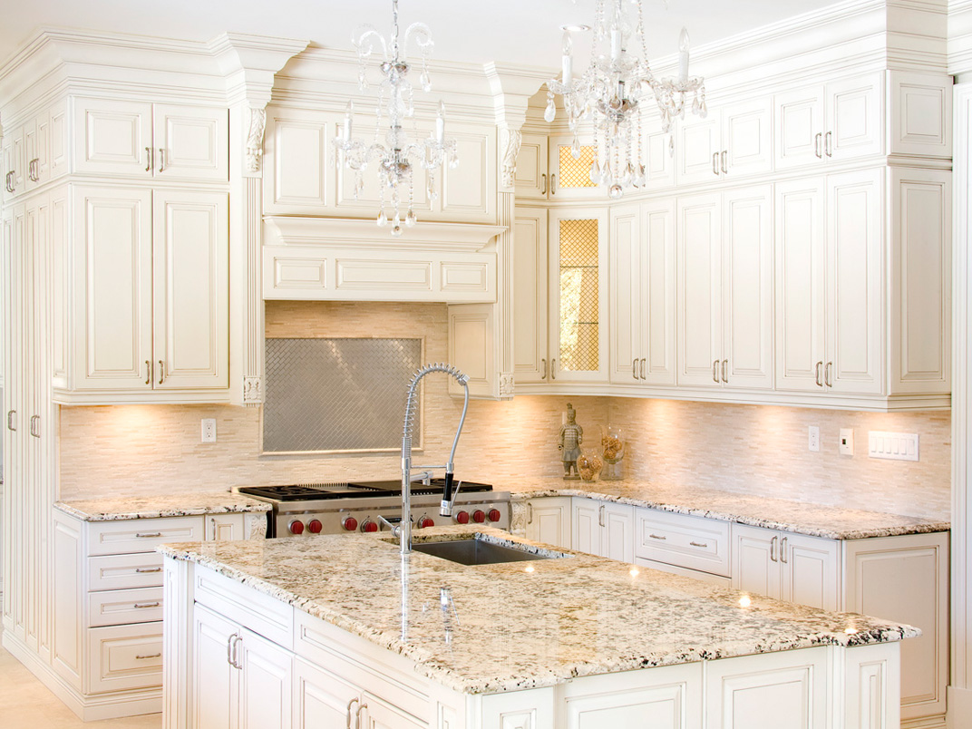 Kitchen In White White Kitchen Cabinets With Granite Countertops Benefits