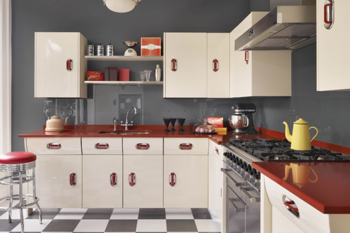 Retro Style Kitchen Maximizing Cabinet Color To Create Retro Style Kitchen