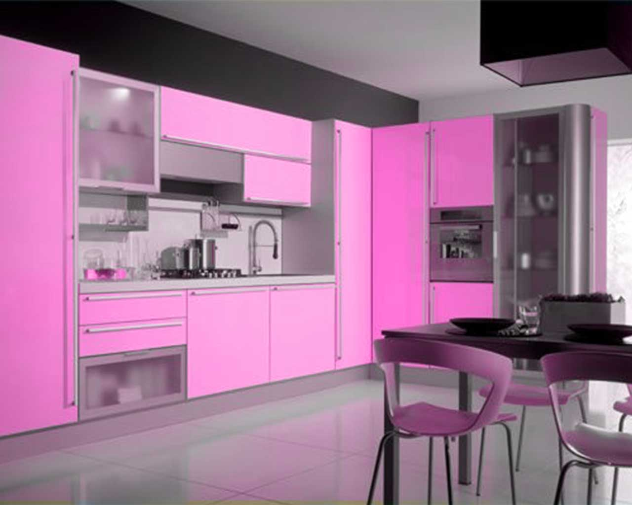 Pink And Black Kitchen Decor Pink Kitchen Decorating Ideas In Elegant Style