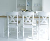 White wood kitchen table