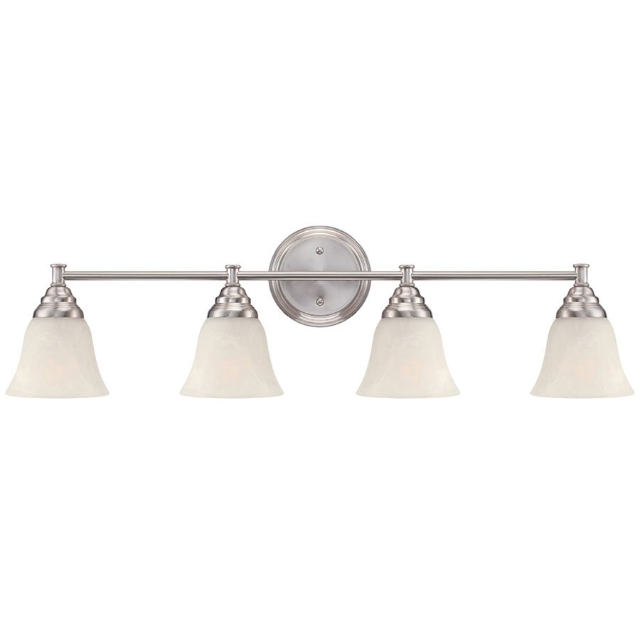 Designers Fountain Lighting Kendall 4 Light Bath Bar In Satin Platinum With Alabaster Designers Fountain
