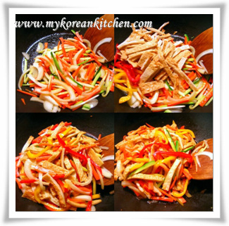 eomuk stir frying process