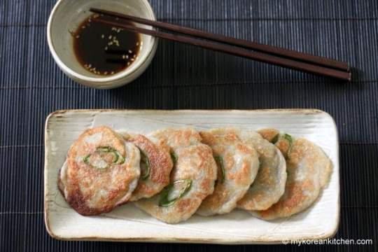 Korean Potato Pancakes (Gamja Jeon) with soy sauce