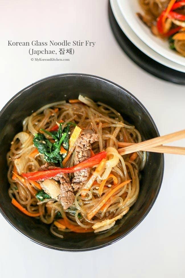 Japchae (Korean Glass Noodle Stir Fry) - My Korean Kitchen