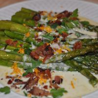 Roasted Asparagus with Brie, Bacon and Shallot Sauce