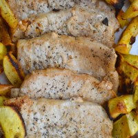 Seared Pork Chops with Roasted Apples & Sweet Potatoes