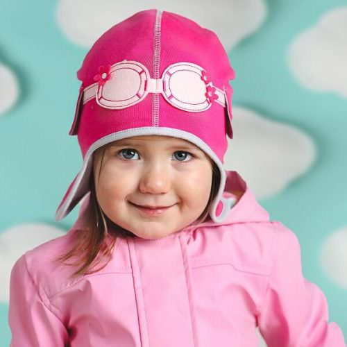 Baby Girl Aviator Hat - Dragonfly Jersey Pink  My Little Duckling