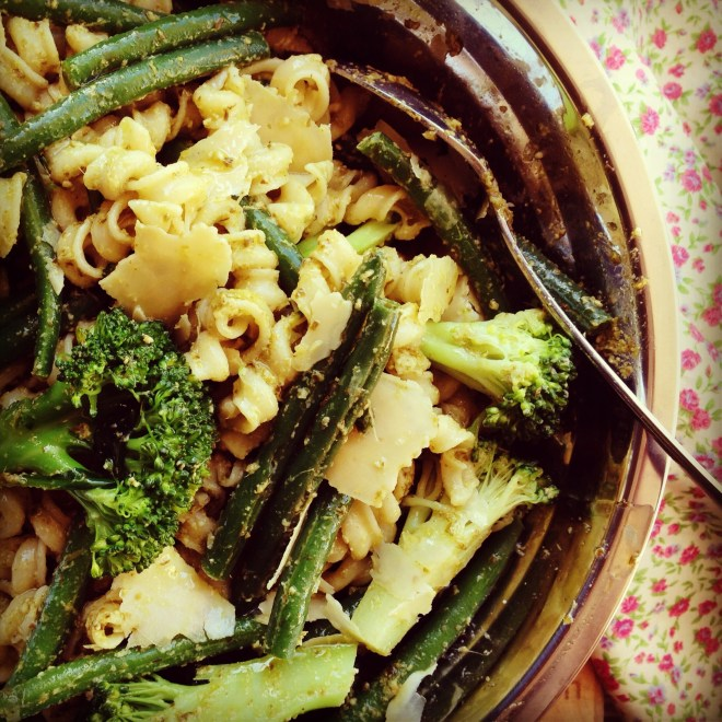pesto rollini with broccoli trees & beans