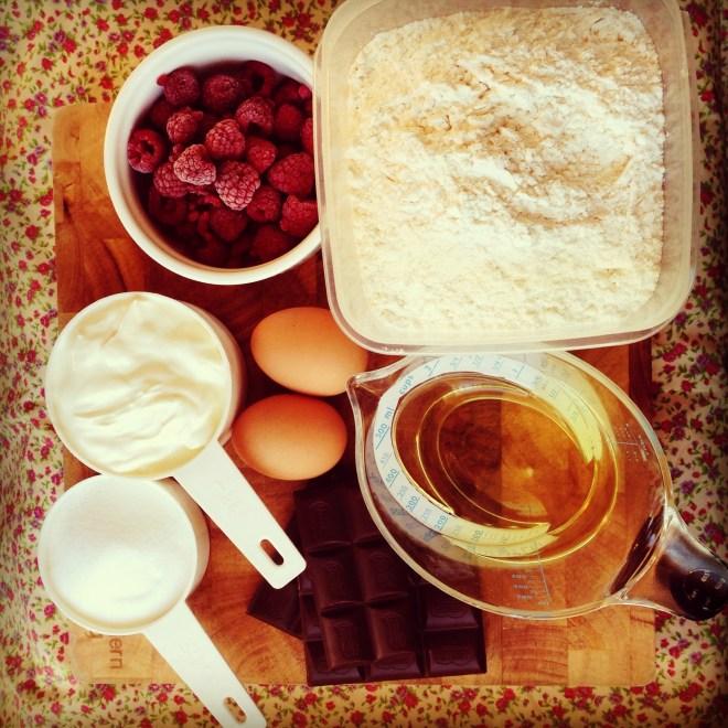 raspberry & chocolate muffins