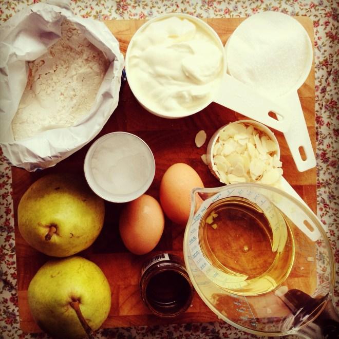 pear, cinnamon & almond muffins