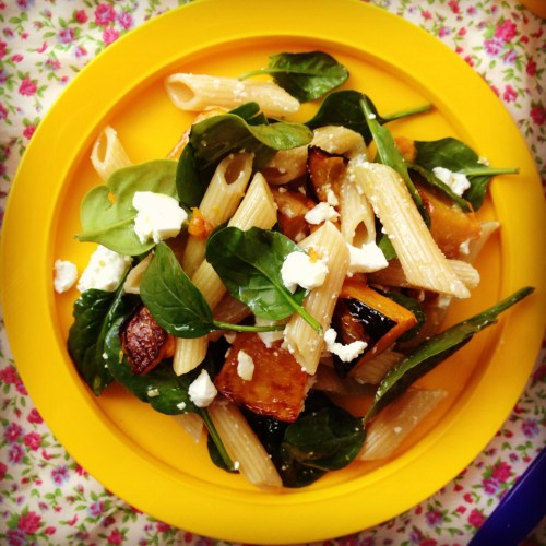 Image of Winter roasted pumpkin and feta pasta salad