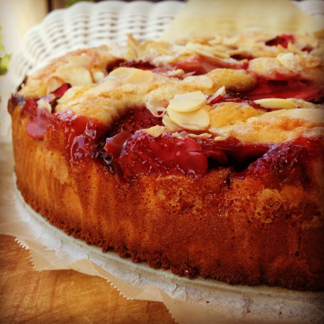 strawberry & almond skillet cake