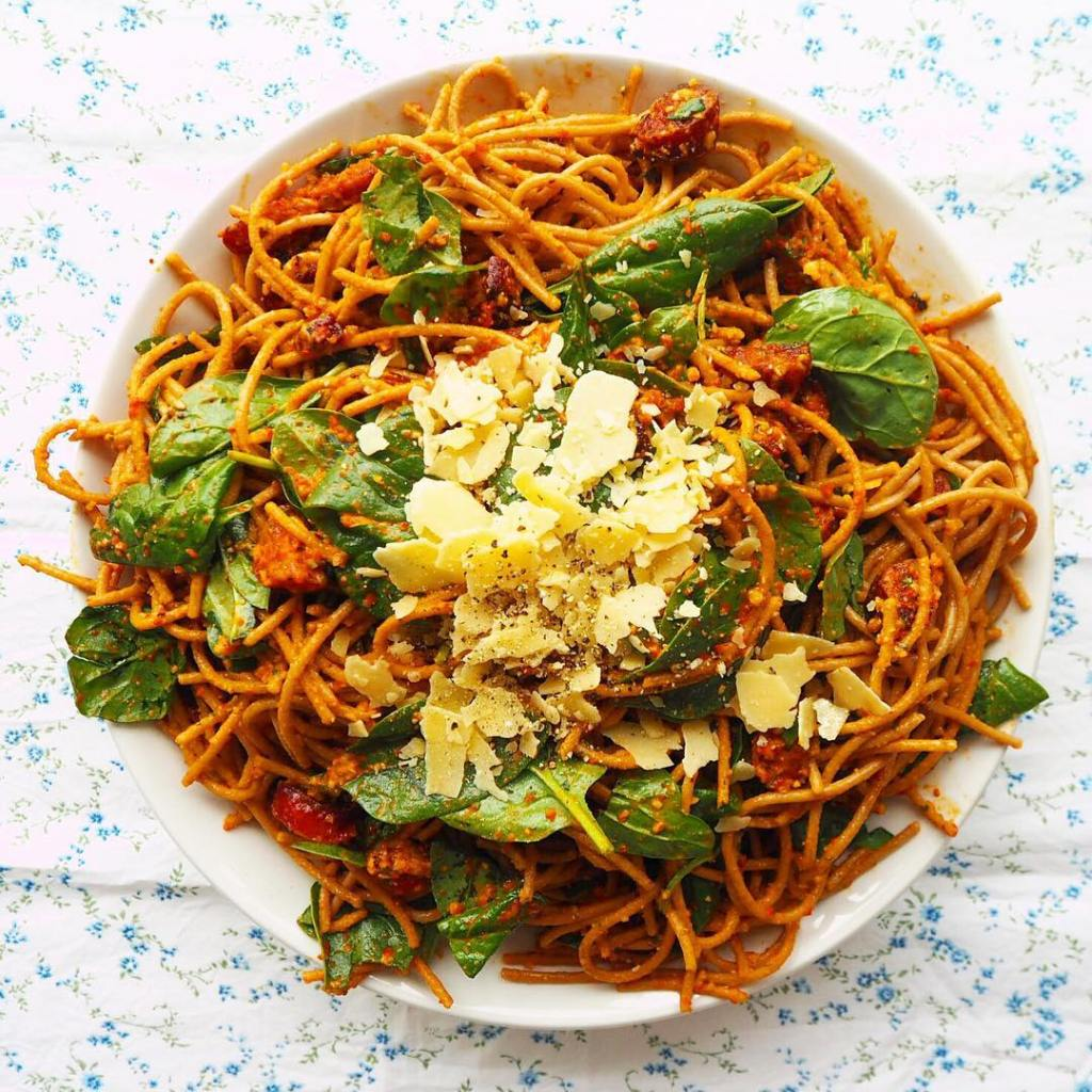 BLOGGED wholemeal spaghetti w roast capsicum pesto amp crispy chorizohellip