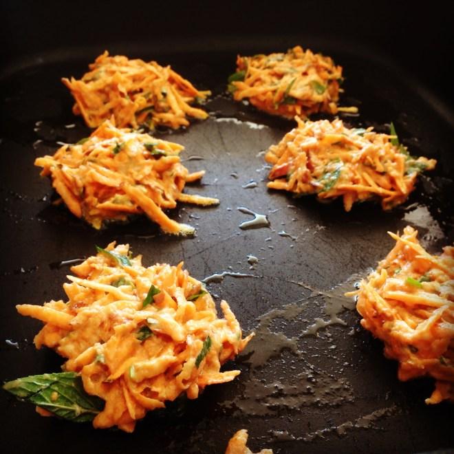 sweet potato fritters w' avocado salsa