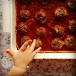 baked meatballs w' simple tomato sauce