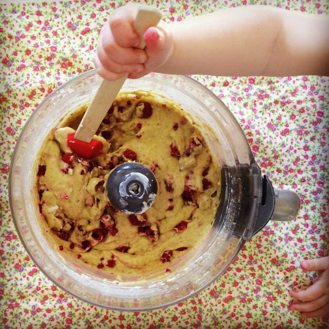 Pour the raspberry flecked batter into a loaf tin lined with baking ...