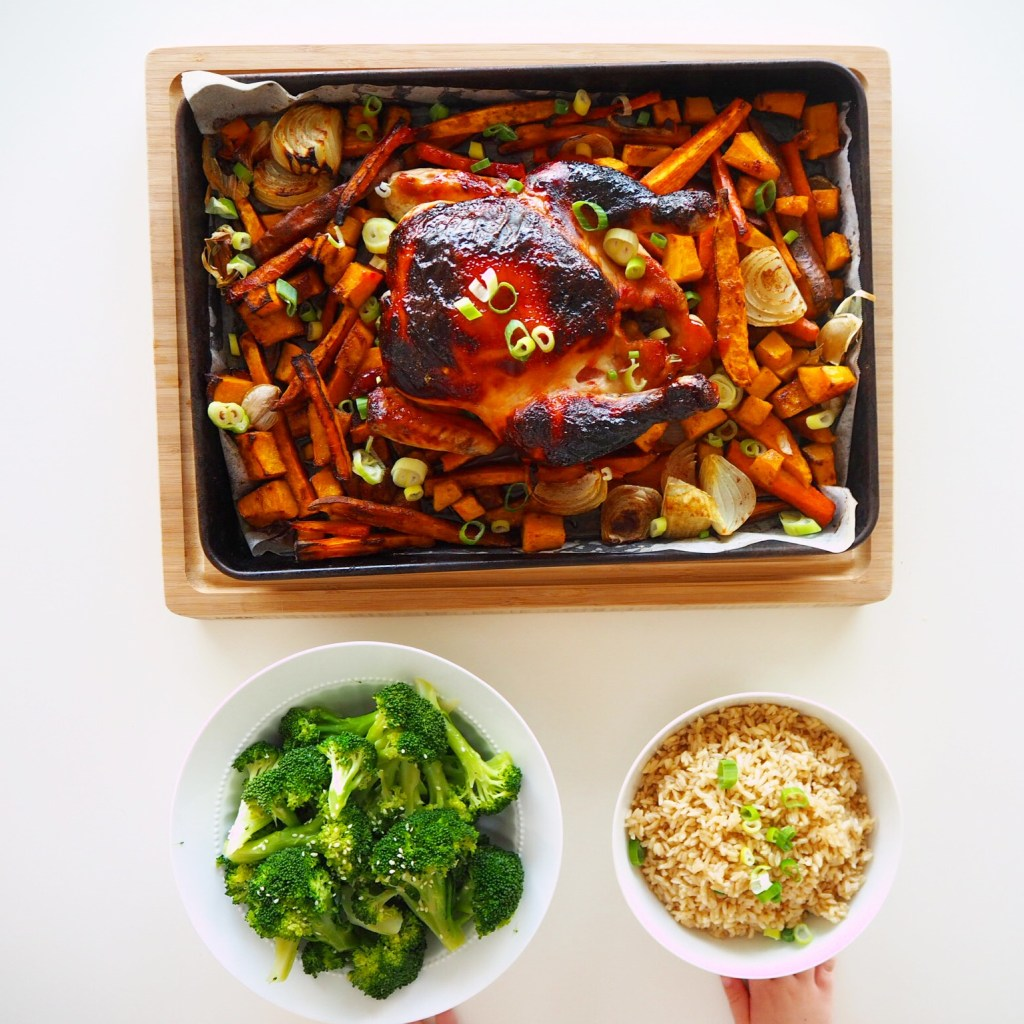 char siu roast chicken with five spice vegetables, brown rice and broccoli