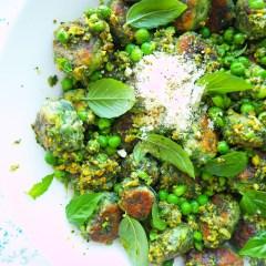 pea, spinach & ricotta gnocchi with mint & pistachio pesto